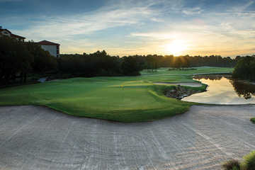 Sunset view of a green from The Reserve course at Orange Lake Resort