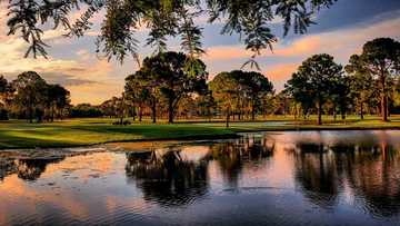 A sunset view of a tee at West Orange Country Club.