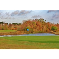 Watch for this pond to the right of the green on the 356-yard second hole at The Reserve golf course at Orange Lake Resort in Kissimmee.