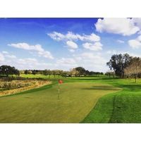 The fifth green on Orange County National's Panther Lake golf course is narrow and well protected.